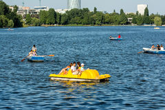 People Boat Ride On Herastrau Lake Stock Photos