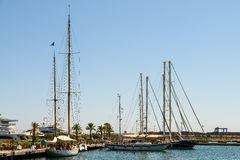 People Boat Ride In Marina Real Juan Carlos Port Of Valencia City Stock Images