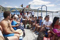 People on a boat. Summertime in Azores archipelago. Portugal Royalty Free Stock Photos