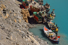 People boating in the Attabad Lake Stock Photos