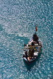 People boating in the Attabad Lake Stock Image