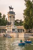 People boating in Buen Retiro park lake, Madrid Royalty Free Stock Photo