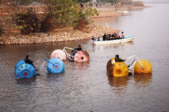 People boating in the raval lake Islamabad Stock Photo
