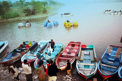 People boating in the Raval Lake Islamabad Royalty Free Stock Photos