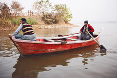 People boating in the Raval Lake Islamabad Royalty Free Stock Image