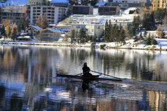 People boating in St. Moritz lake in winter Stock Photos
