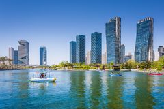 People are boating in the summer of korea at Central park. Incheon, South Korea - May 05, 2015: People are boating in the summer of korea at Central park in Royalty Free Stock Photography