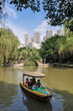People Boating in Wetland Park Stock Photography