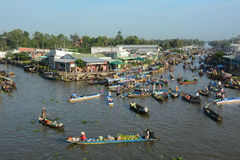 People and boats at floating market in Soc Trang province, Vietnam Stock Images