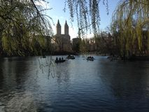 People in Boats on Lake in Central Park in Manhattan, New York. Stock Images