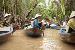 People in boats at Mekong River, Vietnam Stock Photos