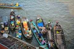 People on the boats on river in Ben Tre, Vietnam Stock Photos