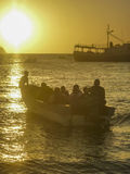 People in Boats at the Sunset in Taganga Bay Colombia Stock Photos