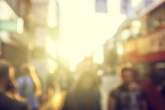 People in bokeh, London Royalty Free Stock Photography