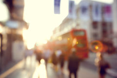 People in bokeh, street in Europe Royalty Free Stock Photography