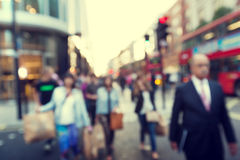 People in bokeh, street Stock Image