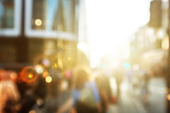 People in bokeh, street of London Royalty Free Stock Images
