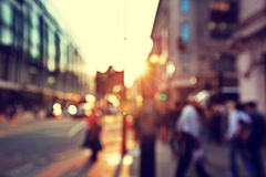 People in bokeh, street of London Stock Photography
