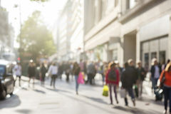 People in bokeh, street of London Royalty Free Stock Photography