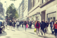 People in bokeh, street of London Stock Image