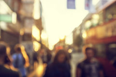 People in bokeh, street of London Royalty Free Stock Image