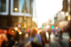 People in bokeh, street of London Royalty Free Stock Photos