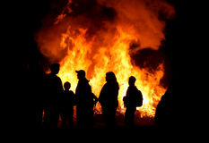 People at a bonfire Stock Images