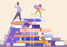 People with book concept. Learning, education and school, knowledge, study and literature. Reading books flat vector royalty free illustration