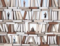 People on books wall Stock Image
