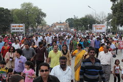 People at the Border Ceremony of Attari Royalty Free Stock Image