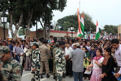 People at the Border Ceremony of Attari Stock Photos