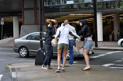 People in Boston during Hurricane Irene Stock Photo