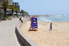 People boulevard beach ocean, Swakopmund, Namibia Royalty Free Stock Photo