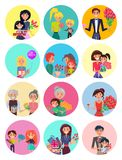 People with Bouquets and Gift Boxes on Holiday. Happy women receive presents and bouquets from all family members on International Womens Day big vector stock illustration