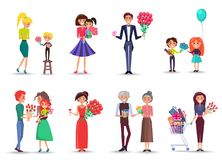 People with Bouquets and Gifts Celebrate Holiday. Cartoon characers of all ages celebrate International Womens day with family isolated vector ilustrations set royalty free illustration