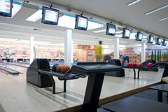 People Bowling. In a bowling club Stock Images