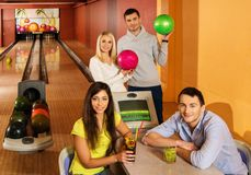 People in a bowling club Royalty Free Stock Image