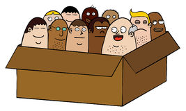 People in box. People together in a box Stock Photography