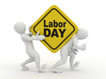 People with box with the inscription labor day. 3d Royalty Free Stock Image