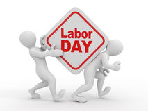 People with box with the inscription labor day. Stock Images