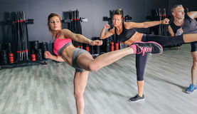 People in a boxing class training high kick. Group of people in a hard boxing class on gym training high kick Stock Images
