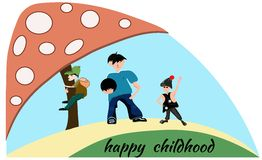 People boy, children, mushroom. Happy childhood Stock Images