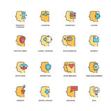 People brain thinking, mental health outline icons with flat elements Stock Images