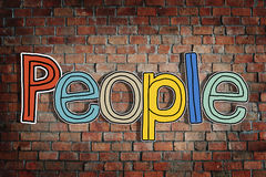 People and Brick Wall in the Background Stock Photography