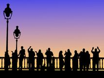 People on bridge. People on the bridge. Silhouetted against the evening sky vector illustration