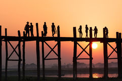 People on bridge Royalty Free Stock Image