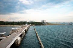 People on the bridge of Marina Barrage Royalty Free Stock Image