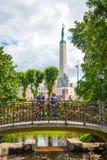 People on the bridge with padlocks, Riga, Latvia Stock Photo
