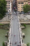 People on the bridge of Sant`Angelo in Rome,. Italy Royalty Free Stock Photos