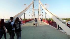 People on the bridge stock video footage